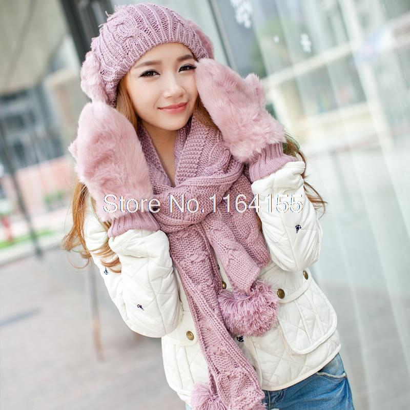 hat scarf and gloves set winter birthday gift