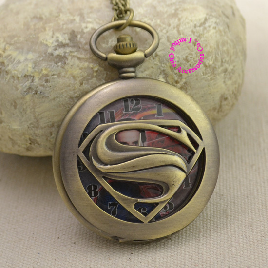 bronze superman fashion quartz pocket watch woman necklace vintage retro classic lady girl unisex fob watches arabic number new - Chic Watches store