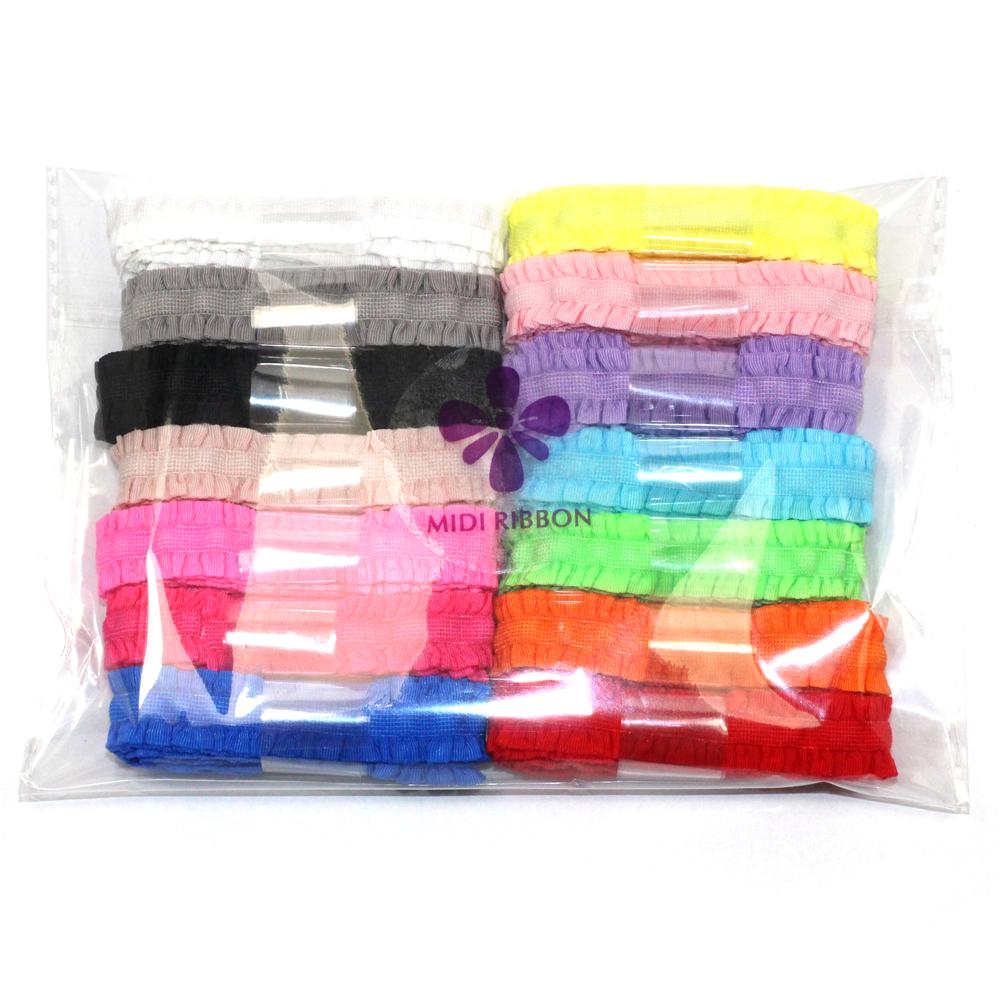 14 Colors 1 Yards Each Lingerie Straps Fungus Elastic Ribbon Wrinkle Ribbon 14 Yards/Lot DIY Handmade Hair Accessories(China (Mainland))