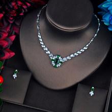 HIBRIDE europejska moda kobiet cyrkon biżuteria mały zestaw kwiaty naszyjnik zestaw kolczyków ślubne prosty zestaw biżuterii N-664(China)