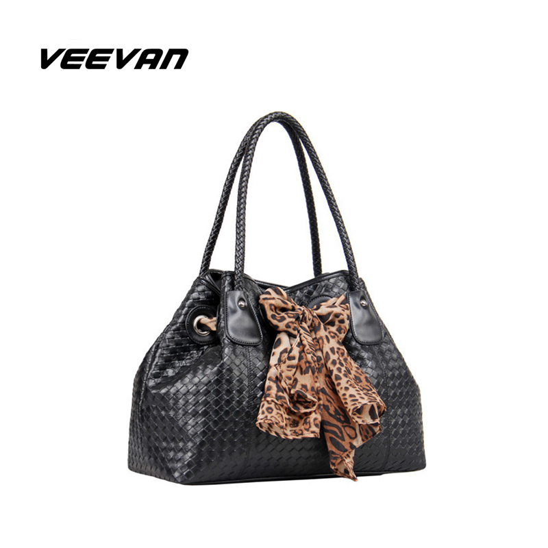 VN PU Leather Women Handbag Fashion Woven Single Shoulder Bag Leopard Silk Ribbon Ladies Tote Handbags Women Messenger Bags(China (Mainland))
