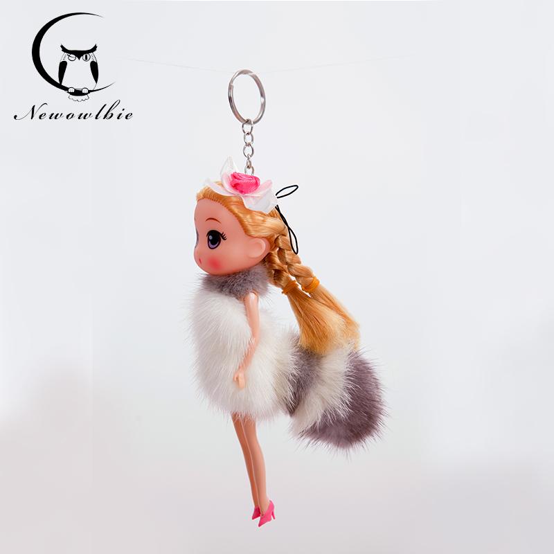 New2016 Copenhagen mink fur Barbie doll ornaments Upscale car ornaments Keychain women Bag pendant jewelry Creative doll(China (Mainland))