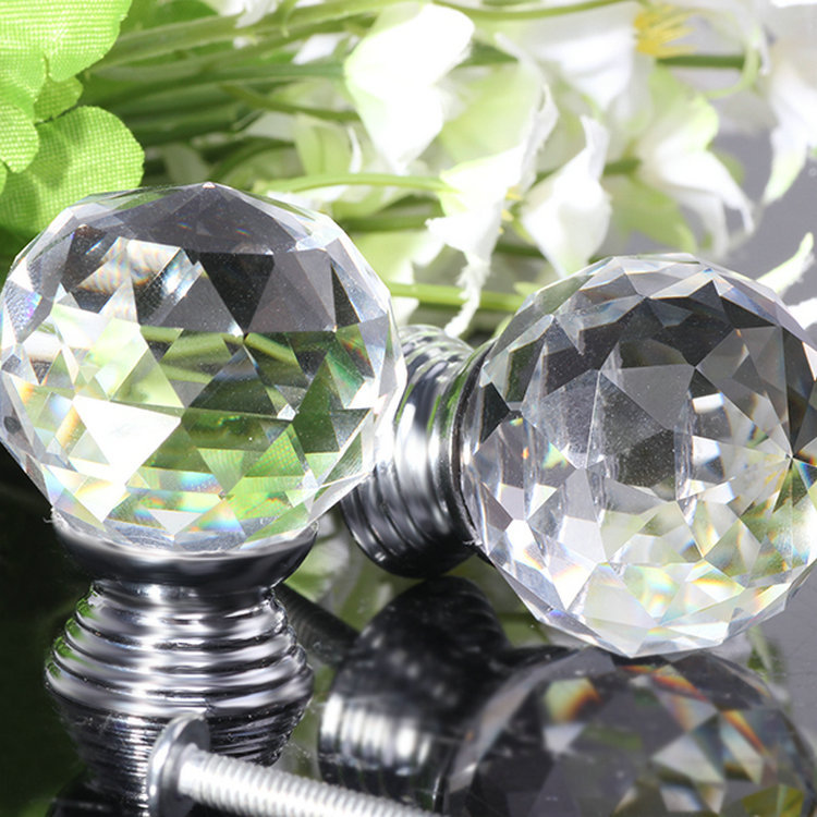 Practial 10x Crystal Glass Clear Cupboard Door / Drawer Knobs Crystal Pull / Door Handle*Mabel* 30mm Sliver Kitchen Drawer(China (Mainland))