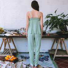 Dot suspenders sexy song Riel thin pajamas suit tracksuit trousers Ms Le Xuan daydream NF