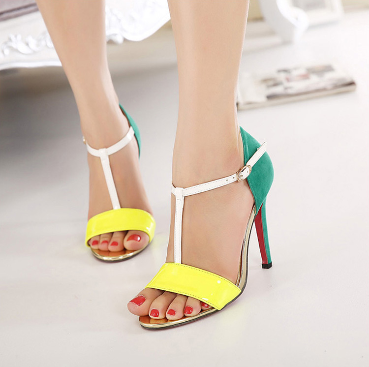 2015 New Design Elegant Ankle Strap Sandals Red Bottom High Heels Blue And Yellow Women Open Toes Heels Shoes Size 4 High Heels(China (Mainland))
