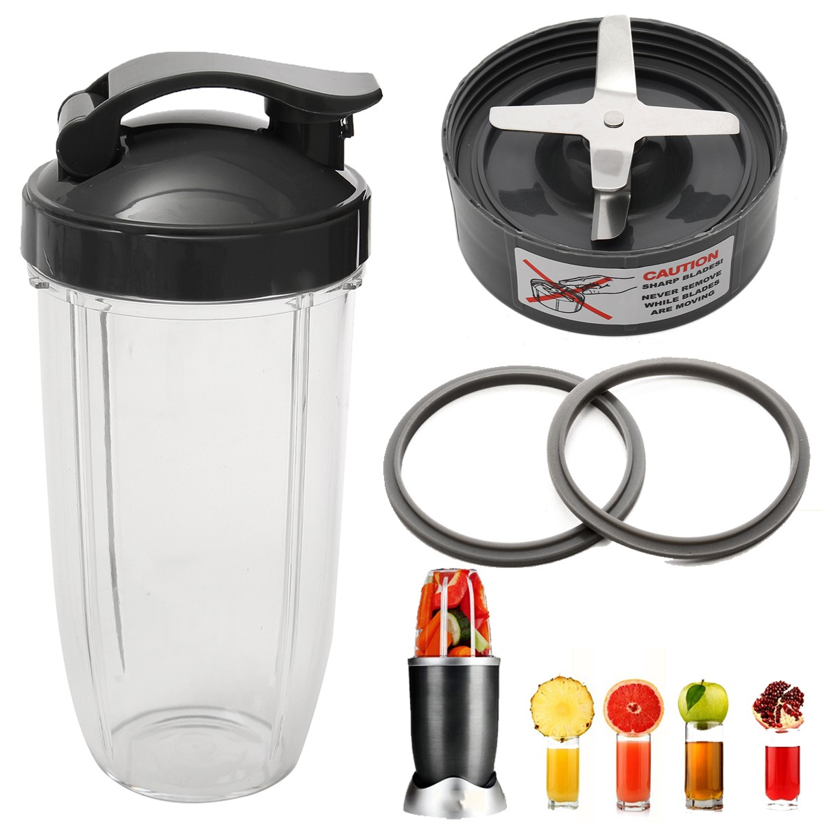 Stainless Steel Juicer Jar Set Blender Spare Parts Cup + Flip Top Lid + Extractor Blade + 2 Fitted Gaskets(China (Mainland))
