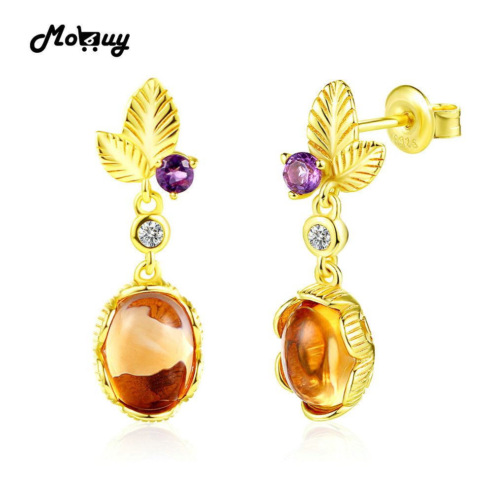 MoBuy MBEI007 Leaf Natrual Gemstone Citrine & Amethyst Drop/Dangle Earrings 925 Sterling Silver 14K Yellow Gold Plated For Women(China (Mainland))