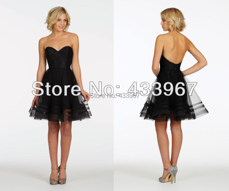 A line black strapless sweetheart neckline short tulle for Strapless wedding guest dresses