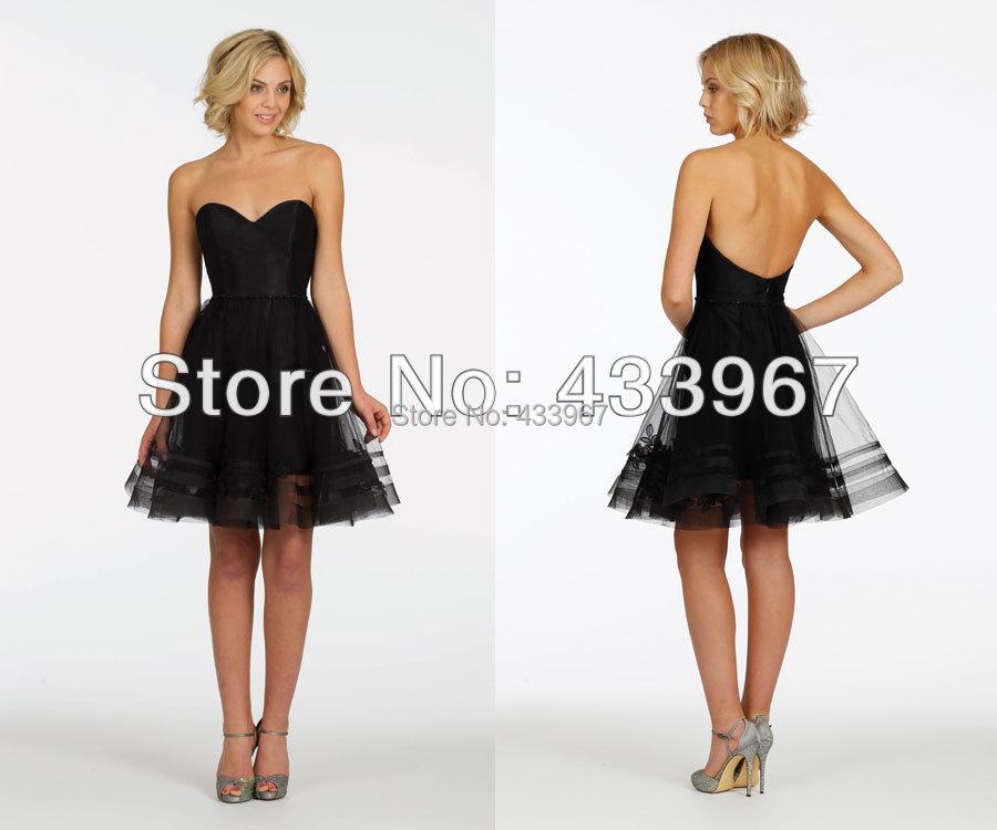 A line black strapless sweetheart neckline short tulle for Black dresses for weddings guests