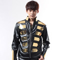 S 5XL 2016 Fashion male dj punk gold black for halley motorcycle leather clothing male stage