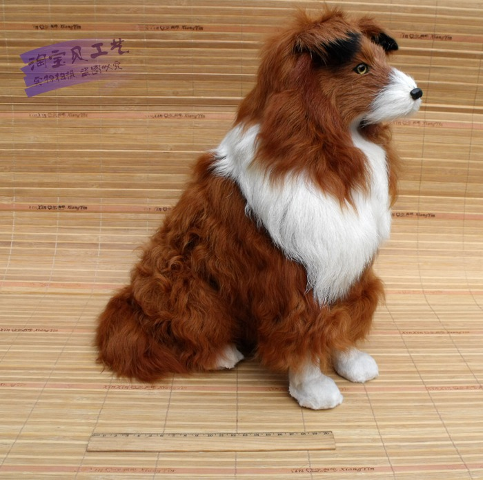 big simulation dog toy polyethylene&fur Collie Dog doll about 36x20x34cm a1488(China (Mainland))