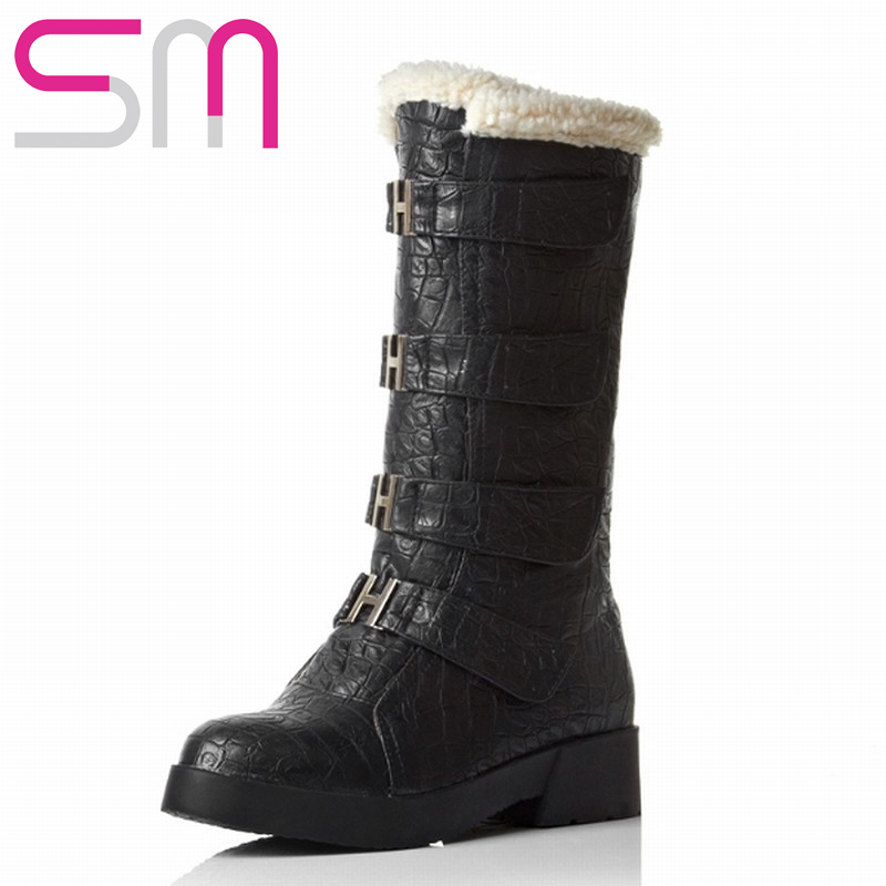Brand Cool Metal Buckle Strap Velcro Fur Snow Boots for Women Motorcycle Boots Winter Boots Women's Shoes Skid Proof Flat Sole