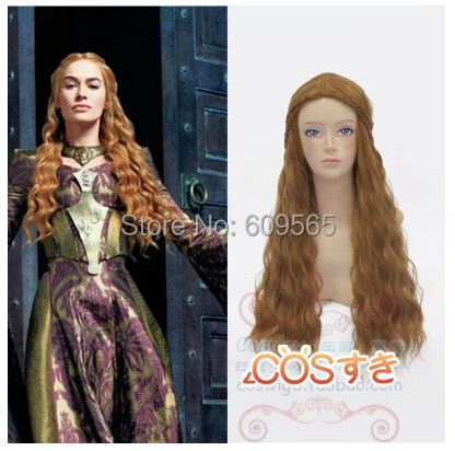 Free shipping!A Song Of Ice And Fire Actress Cersei Lannister Wig Long Wavy Brown Wig With Braid Cosplay Anime Wig