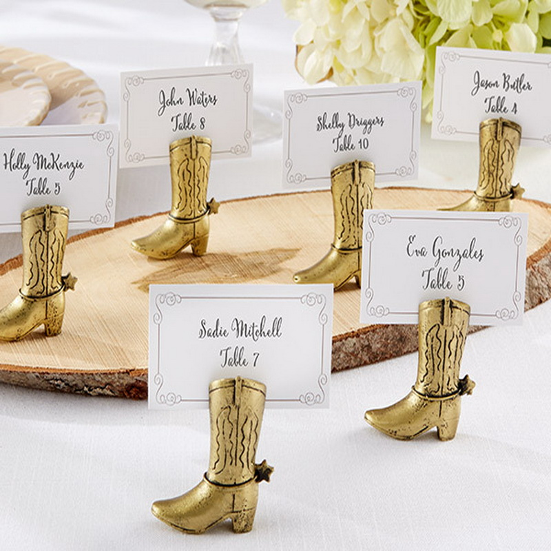 100pcs/Lot+Golden Cowboy Boot Place Card Holder Table Centerpiece Wedding&Bridal Shower Favors Seat Number Holders+FREE SHIPPING