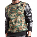 Mens Faux Leather Sleeve Crewneck Sweatshirt With Star Casual Pullover Camo Sweatshirt Hoodie Jumper Man US Size