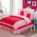 High quality Korean Lace Princess Bedding sets 4pcs set 100 Cotton with Bed sheet Duvet cover