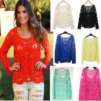 Summer Style Blouse 2015 Blusas De Renda Hollow Sexy Women Tops Plus Size Lace Blusa Feminina High Quality Blouses Factory Sale