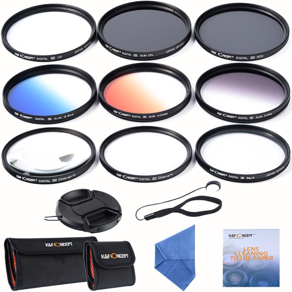 62mm slim UV CPL ND4+ Slim Blue Orange Grey Graduated colour +Macro Close Up +4 +10 +6 Point Star Lens Filter for camera lens(China (Mainland))