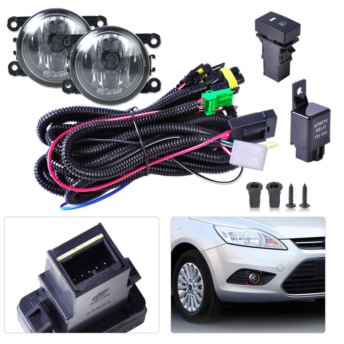 Black New Wiring Harness Sockets + Switch + 2 Fog Lights H11 Lamp 12V 55W Kit for Ford Mustang Lincoln Navigator Subaru Outback(China (Mainland))