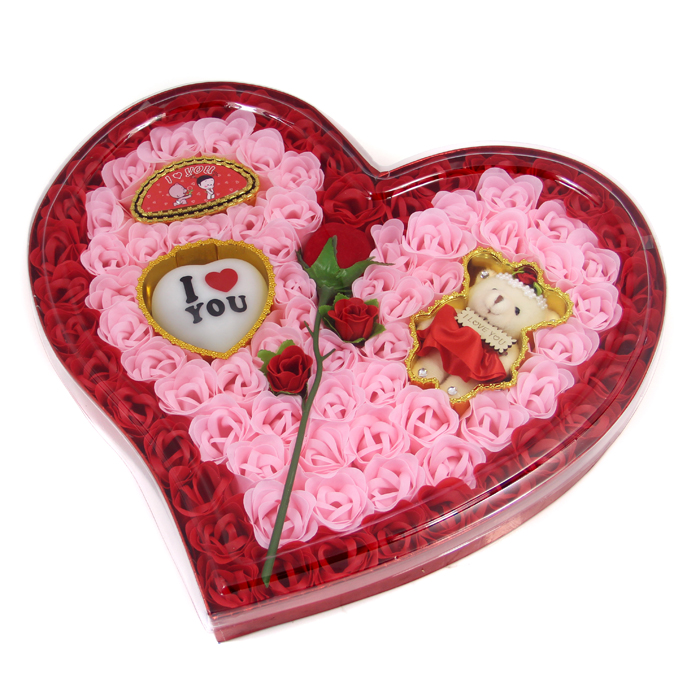 2015 Woman Romantic Gift Plush Bear Heart Rose Soap Flower Toilet Roses Bath Supplies Every Set 92 free Shipping(China (Mainland))