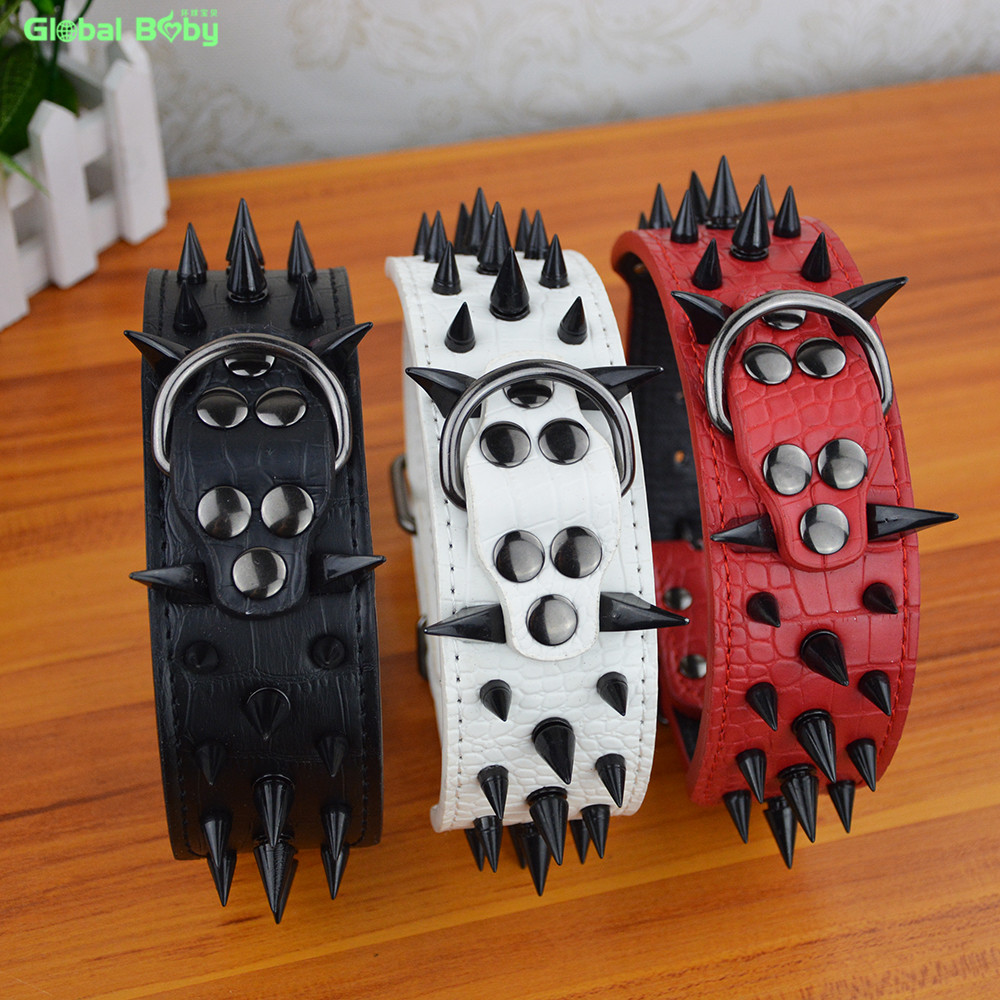 100% High Leather Sharp Black Spikes Medium Large Dog Pet Collar Matched Genuine Leather Leashes Lead(China (Mainland))