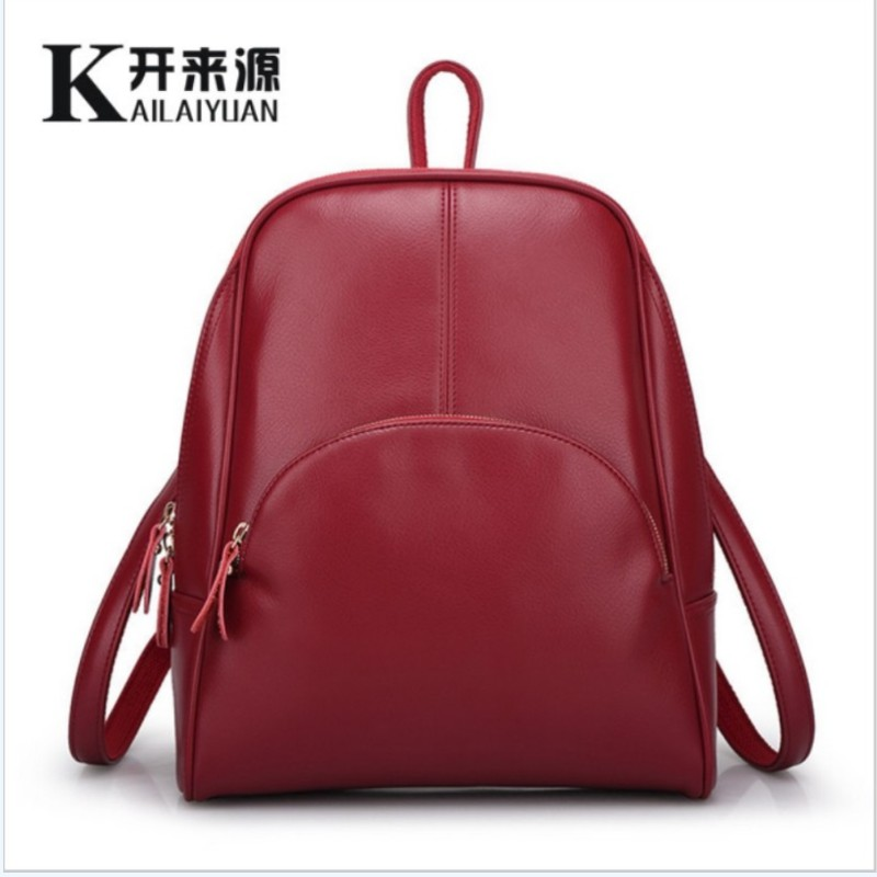 KLY 100% Genuine leather Women backpack 2017 New Cow Leather Women Backpack Mochila Feminina School Bags for Teenagers(China (Mainland))
