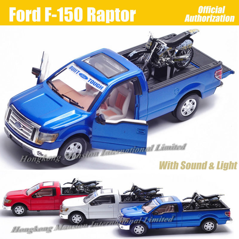 For Ford F-150 Raptor 1:32 Scale Diecast Alloy Metal Car Model Collection Model Pull Back Sound&Light Toys Car With Motorcycle(China (Mainland))