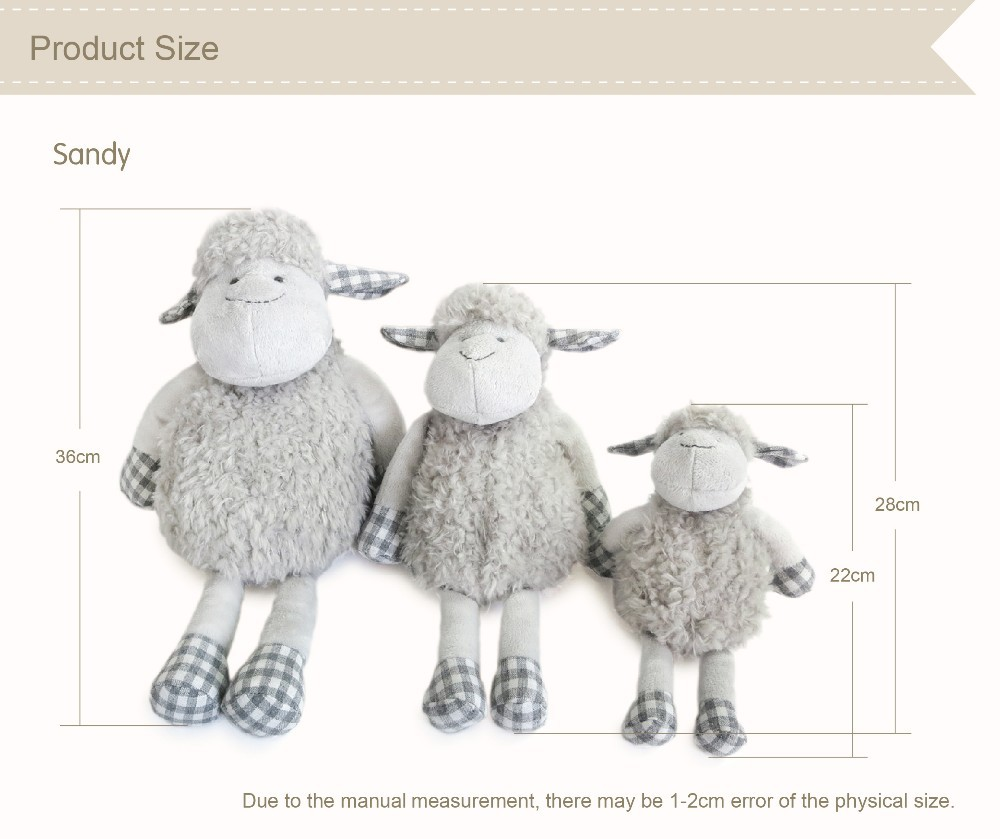 28cm high quality hand-made cute grey sheep plush toys mainly for famous brand,stuffed animals, doll/toy 100% linen plush toys