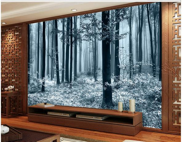 Wallpaper black and white tv backdrop bamboo mural for Bamboo mural wallpaper
