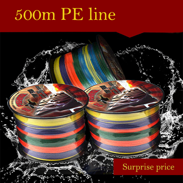 Manufacturers selling 500 meters colorful vigorously horse fishing 4 shares of PE braided line bite proof color road sub line(China (Mainland))