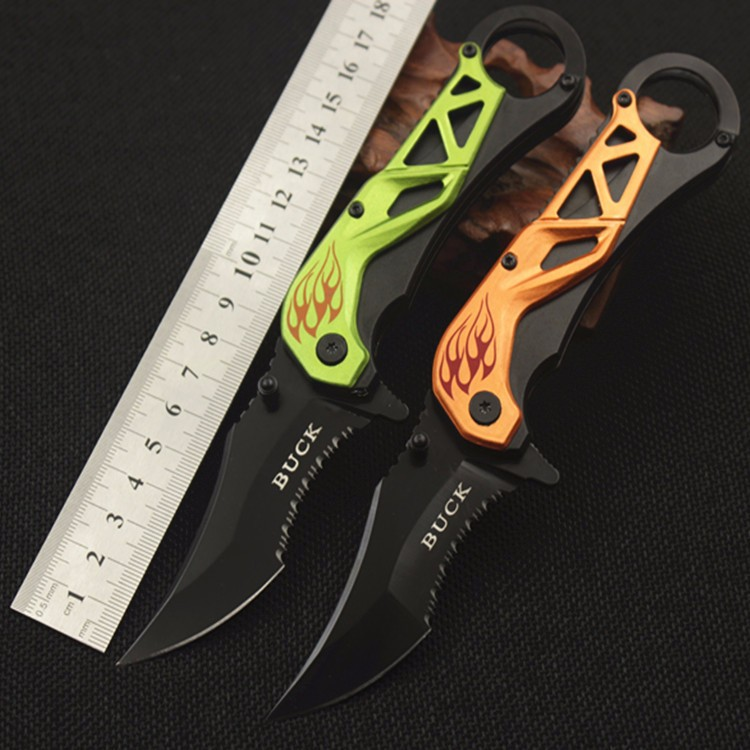 Buy BUCK Serrations Folding Knife Camping Multifunctional knife Tactical Survival knives Aluminum Handle Green/Orange 1955# cheap