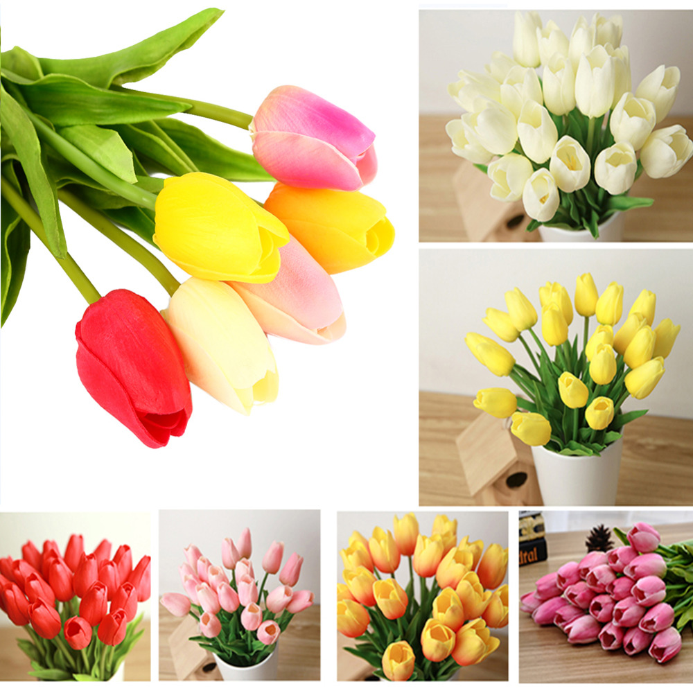 2016 tulip artificial flowers real touch wedding home for Artificial flowers decoration home