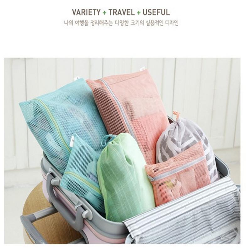 Travel Drawstring Storage Bag clear travels mesh bag organizer cosmetic storage bag in bag MESH TRAVEL POUCH 1Set/4pcs(China (Mainland))