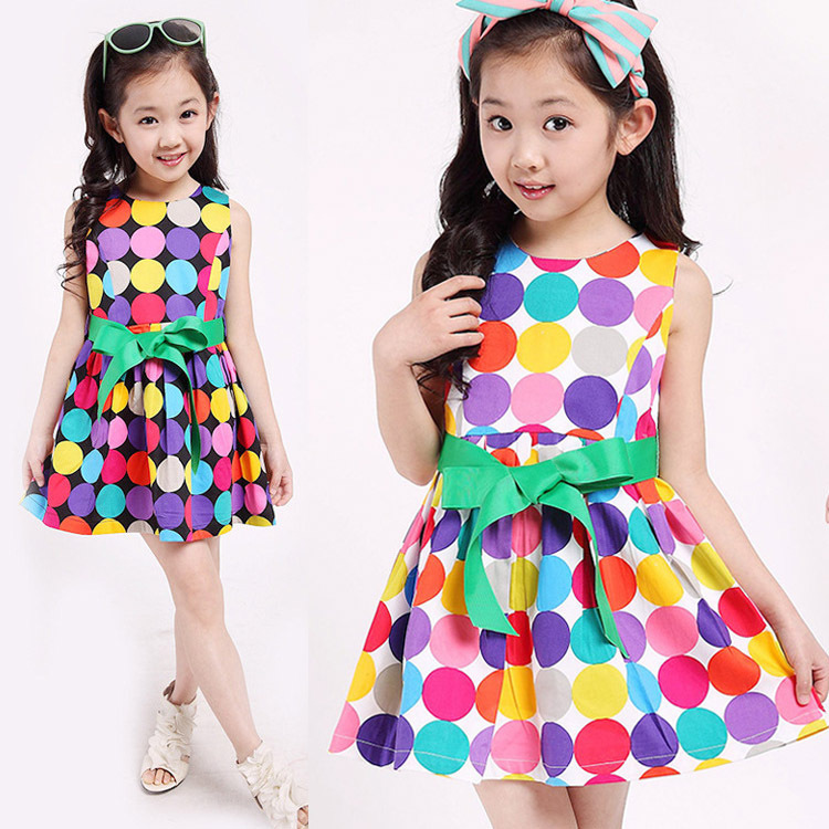 2015 Children Summer Clothing Girls Polka Dot Dress Clothes Baby Sleeveless Casual Bow Princess Meninas Vestir - Yiwu Rex Guo's store