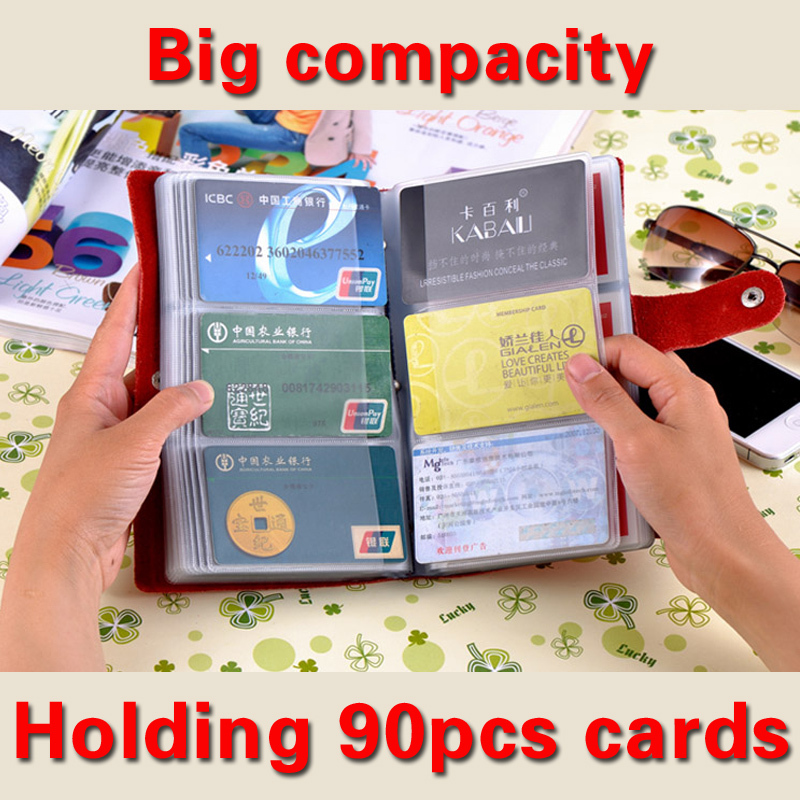 Hot Sale 90 Slots Women Men Name Credit Card Holder Genuine Leather Buckle Large Capacity Business ID Holders Organizer Bag