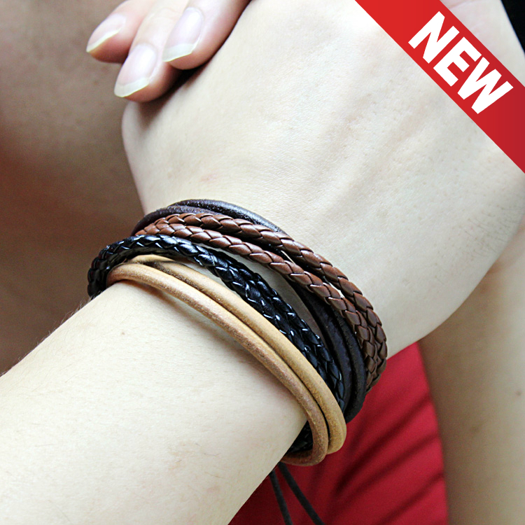 Men Bracelet For Women Leather Bracelets Brown Cool Real Leather Men Woman Unisex Fashion Bracelet High Quality Free Shipping(China (Mainland))