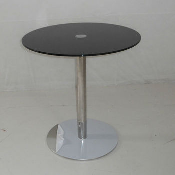Factory Outlet modern minimalist stainless steel glass black rounded tables coffee corner a few 9036