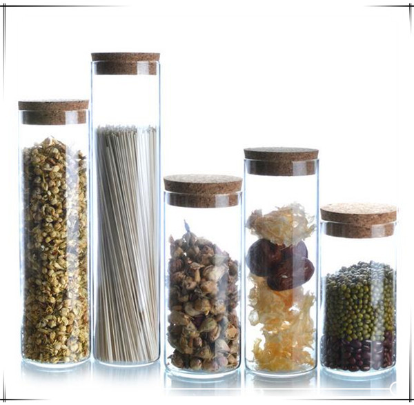 Guaranteed 100% High quality food container glass clear Glass food storage bottles and jars with cover for tea bean dry food(China (Mainland))