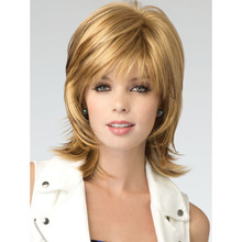 Beautiful Wavy Bouncy Medium Length Hairstyle Blonde Color Capless Synthetic Hair Wigs(China (Mainland))