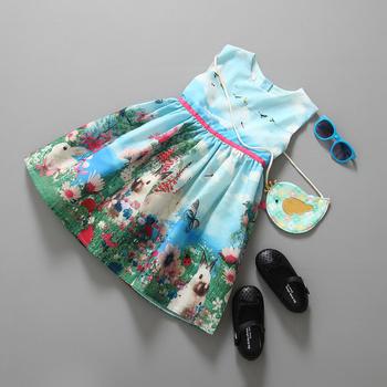 Платье девушки 2015 новый бренд детские детская одежда Vestidos детей принцесса ну вечеринку платья для девочек мультфильм животных, Кролик бабочка