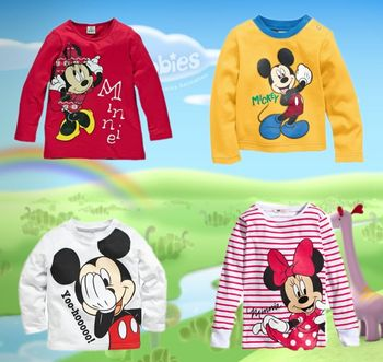2015 new autumn minnie mouse boys girls clothes long sleeve children T-shirt kids clothing free shipping
