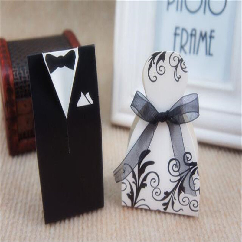 100Pcs Printed Tuxedo Dress Groom and Bride Wedding Favours Gift Boxes Ribbon Candy Box With Ribbons (50pairs)(China (Mainland))