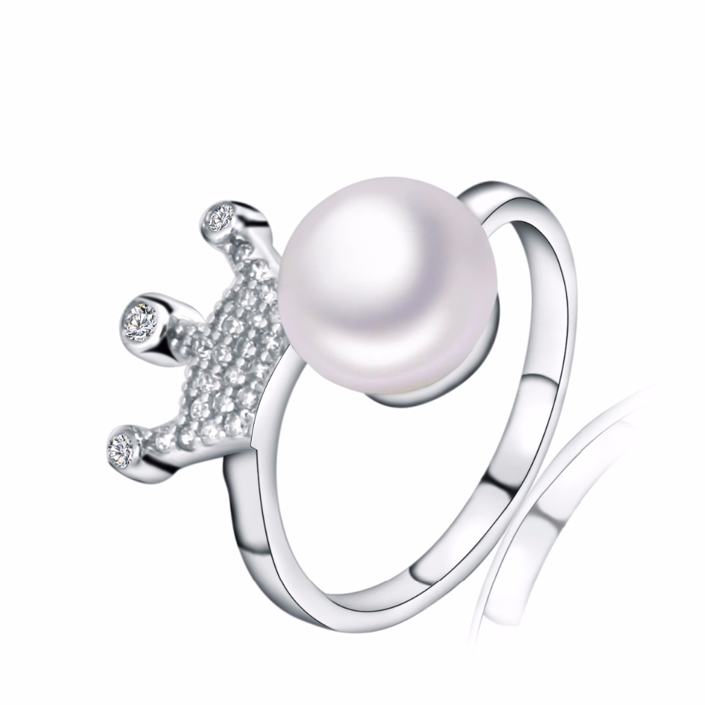 High Quality Classic Natural Freshwater Pearl Ring Anti-Tarnish Anel 925 Sterling Silver Jewelry Ring For Women Bijoux Femme(China (Mainland))