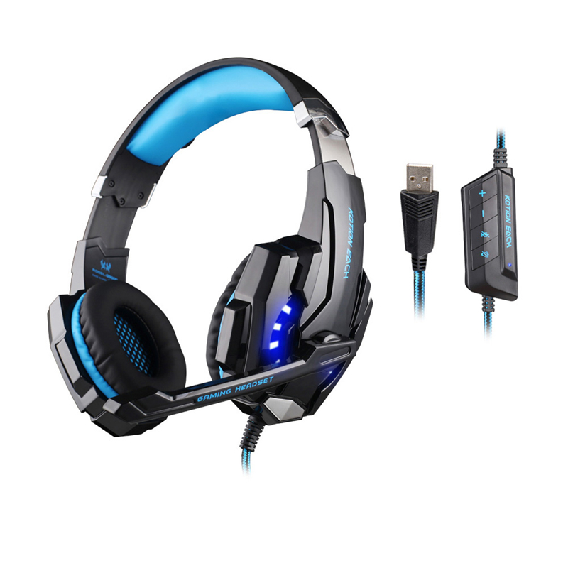 Professional Gaming Headphone KOTION EACH G9000 USB 7.1 Channel Headset Auriculares Headband Over Ear with Microphone LED Light(China (Mainland))