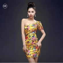 Qipao 2015 New Yellow Color Art Retro Cheongsams Chinese Traditional Dress Slim Sexy Short Hip Night Club Dress