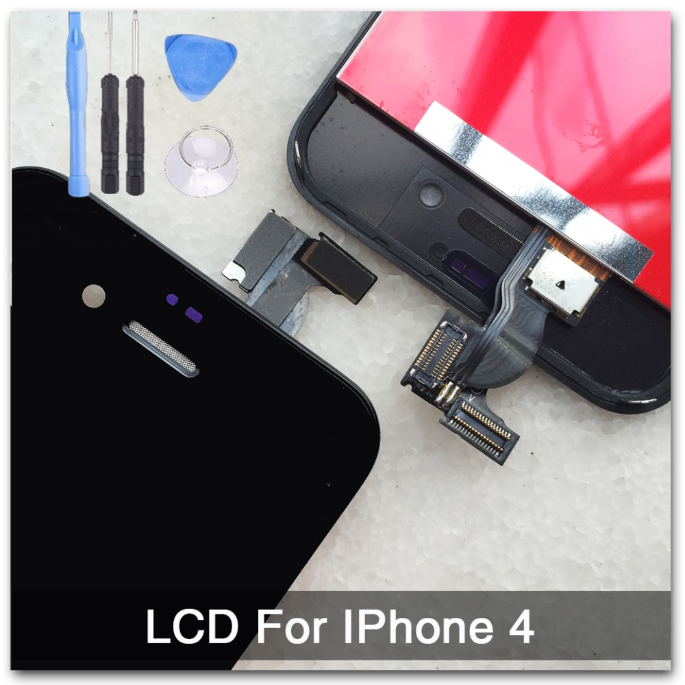 Black Outer Glass+LCD Display +Touch Screen Digitizer Assembly+Tools Replacement for iPhone 4 4G, free shipping