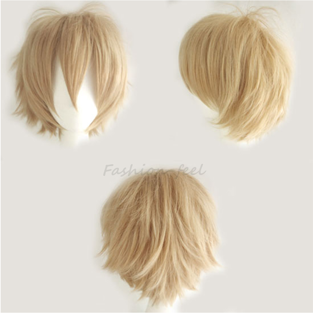 Cool Boys Cute Girls New Linen Blonde Synthetic Short Hair Wig Anime Cosplay Fancy Dress Full Head Wigs Free & Fast Shipping(China (Mainland))