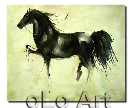 Animal sauvage cheval peint la main peinture l 39 huile for Peinture sur fer a cheval