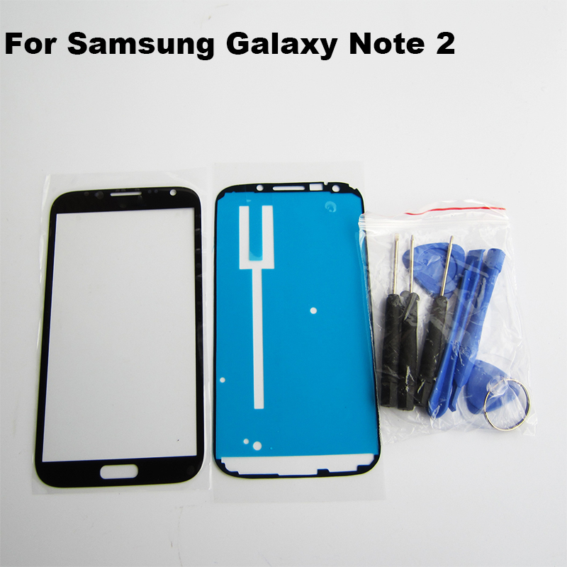 Replacement for samsung galaxy note 2 front glass n7100 black outer screen touch glass lens lcd & Free tools & adhesive note2 II