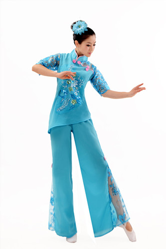 chinese yangko dance costumes chinese folk dance costume women's drum dance performance wear fan dance clothes(China (Mainland))